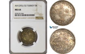 AG441, Ottoman Empire, Turkey, Abdulhamid II, 5 Kurush AH1293/32, Silver, NGC MS64