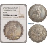 AG448, Germany, Nürnberg Free City, Taler 1763 SF, Silver, Dav-2488, NGC MS61