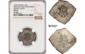 AG459, Livonia (Latvia) Wilhelm von Fürstenberg, 1/4 Taler Klippe 1558, Silver (8.36g) NGC AU50, Extremely Rare!