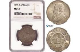 AG461, South Africa (ZAR) 2 Shillings 1895, Pretoria, Silver, NGC MS63, Rare!