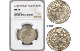 AG464, Ottoman Empire, Algeria, Mahmud II, Budju AH1240 / 1825, Silver, NGC MS64