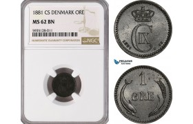 AG480-R, Denmark, Christian IX, 1 Øre 1881, Copenhagen, NGC MS62BN, Pop 1/1, Rare!