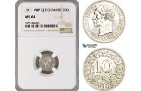 AG481-R, Denmark, Frederik VIII, 10 Øre 1911, Copenhagen, Silver, NGC MS64, Pop 2/3