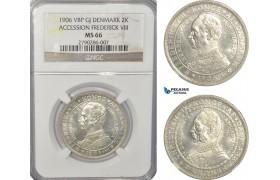 AG482, Denmark, Frederik VIII, 2 Kroner 1906-VBP, Copenhagen, Accession Of Federick VIII, Silver, NGC MS66