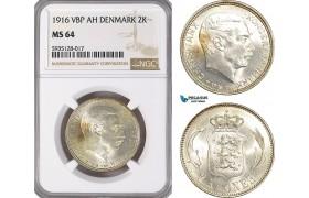 AG483-R, Denmark, Christian X, 2 Kroner 1916 VBP, Copenhagen, Silver, NGC MS64