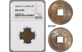 AG492, French Cochin-China, 2 Sapeque 1879-A, Paris, NGC MS64BN