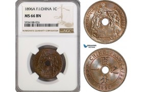 AG493, French Indo-China, 1 Centime 1896-A, Paris, NGC MS66BN, Pop 1/0