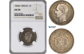 AG501-R, Greece, George I, 1 Drachma 1868-A, Paris, Silver, NGC AU50