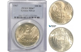 AG502, Greece, 100 Drachmai 1967 (1970) Silver, PCGS MS67