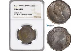 AG503, Hong Kong, Victoria, 1 Cent 1901, London, NGC MS63BN