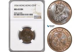 AG505, Hong Kong, George V, 1 Cent 1934, NGC MS65BN