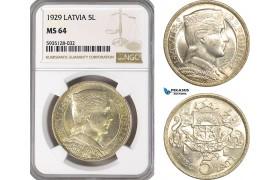 AG511-R, Latvia, 5 Lati 1929, Silver, NGC MS64