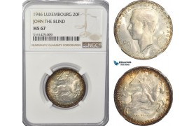 AG512, Luxembourg, Jean, 20 Francs 1946, John The Blind, Silver, NGC MS67