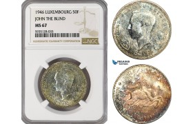 AG513-R, Luxembourg, Jean, 50 Francs 1946, John The Blind, Silver, NGC MS67