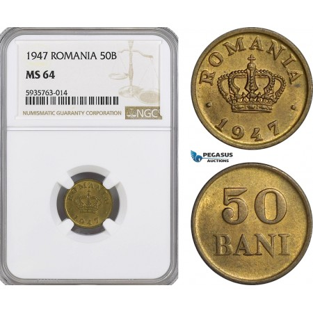 AG530, Romania, Mihai I, 50 Bani 1947, NGC MS64