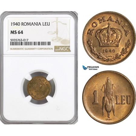 AG532, Romania, Carol II, 1 Leu 1940, NGC MS64