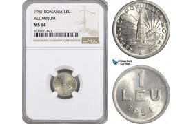AG535, Romania, Peoples Republic, 1 Leu 1951, Aluminium, NGC MS64