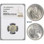 AG536, Romania, Peoples Republic, 2 Lei 1951, Aluminium, NGC MS64