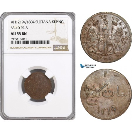 AG543, Netherlands East Indies, Singapore, Sultana, 1 Keping AH1219 / 1804, SS-10, PR-5, NGC AU53BN