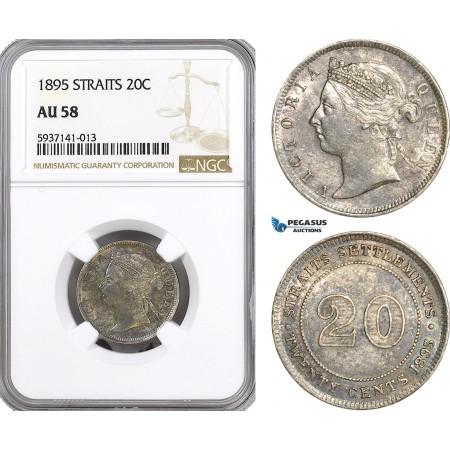 AG545, Straits Settlements, Victoria, 20 Cents 1895, Silver, NGC AU58