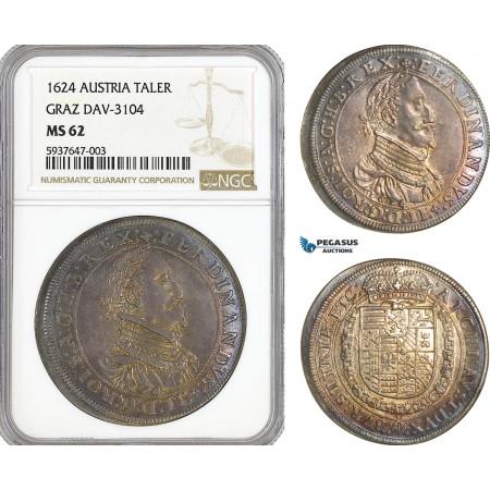 AG549, Austria, Ferdinand II, Taler 1624, Graz, Silver, Dav-3104, NGC MS62