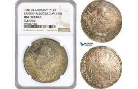 AG552, Germany, Saxony, August, Taler 1580 HB, Dresden, Silver, Dav-9798, NGC UNC Det.