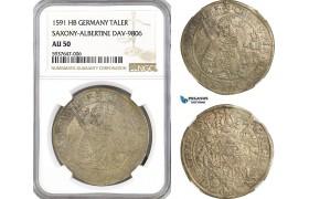 AG553, Germany, Saxony, Christian I, Taler 1591 HB, Dresden, Silver, Dav-9806, NGC AU50