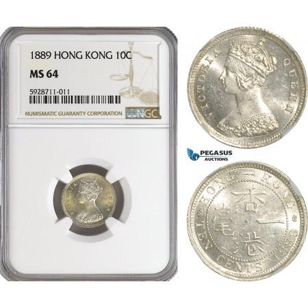 AG554, Hong Kong, Victoria, 10 Cents 1889, London, Silver, NGC MS64