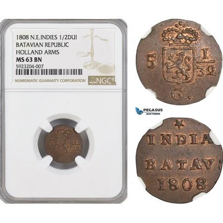 AG557, Netherlands East Indies, Batavian Rep. 1/2 Duit 1808, Holland Arms, NGC MS63BN