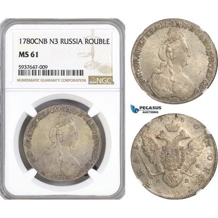AG559, Russia, Catherine II, Rouble 1780 СПБ-ИЗ, St. Petersburg, Silver, NGC MS61