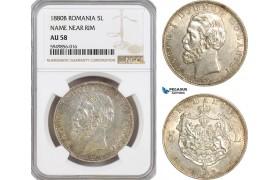 AG611, Romania, Carol I, 5 Lei 1880-B, Bucharest, Name near rim, Silver, NGC AU58