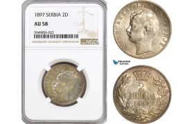 AG614, Serbia, Alexander I, 2 Dinara 1897, Vienna, Silver, NGC AU58
