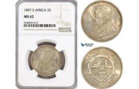 AG618, South Africa (ZAR) 2 Shillings 1897, Pretoria, Silver, NGC MS62