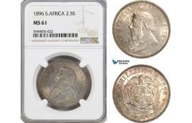 AG620, South Africa (ZAR) 2 1/2 Shillings 1896, Pretoria, Silver, NGC MS61