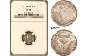 AG622, South Africa, George V, 3 Pence 1927, Pretoria, Silver, NGC MS64