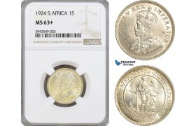 AG623, South Africa, 1 Shilling 1924, Pretoria, Silver, NGC MS63+