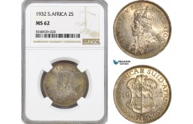 AG624, South Africa, George V, 2 Shillings 1932, Silver, NGC MS62