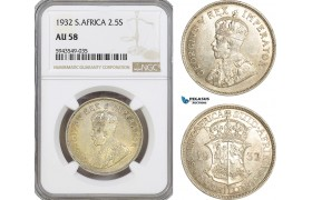 AG625, South Africa, George V, 2.5 Shillings 1932, Pretoria, Silver, NGC AU58