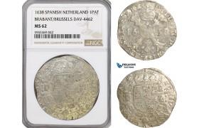 AG626, Spanish Netherlands (Belgium) Brabant, Philip IV, 1 Patagon 1638, DAV-4462, Silver, NGC MS62, Pop 1/0