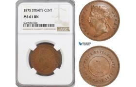 AG627, Straits Settlements, Victoria, 1 Cent 1875, NGC MS61BN, Pop 1/5
