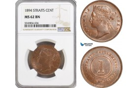 AG629, Straits Settlements, Victoria, 1 Cent 1894, NGC MS62BN