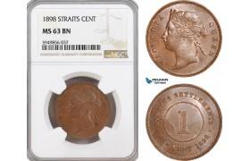 AG630, Straits Settlements, Victoria, 1 Cent 1898, NGC MS63BN, Top Pop