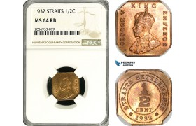 AG631, Straits Settlements, George V, 1/2 Cent 1932, NGC MS64RB