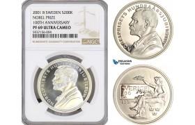 AG632, Sweden, Nobel Prize Centennial 200 Kronor 2001, Stockholm, Silver, NGC PF69UC
