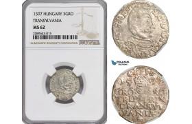 AG633, Transylvania, Sigismund Bathori, 3 Groschen 1597, Silver, NGC MS62