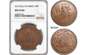 AG634, Ottoman Empire (Turkey) Abdülmecid, 40 Para AH1255/18, NGC MS63BN, Pop 2/0