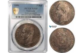 AG637, Venezuela, 5 Bolivares 1886, Caracas, Silver, PCGS XF45 (Low second 8)