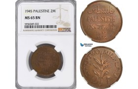 AG825, Palestine, 2 Mils 1945, London, NGC MS65BN