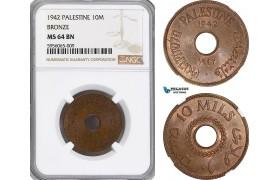 AG827, Palestine, 10 Mils 1942, Bronze, London, NGC MS64BN