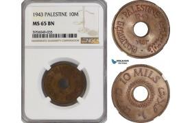 AG829, Palestine, 10 Mils 1943, London, NGC MS65BN